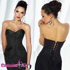 Ladies Burlesque Boned Black Corset Office Fancy Dress Costume Officer Uniform