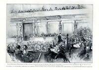 100 Geburtstag Johann Strauss XL 1925 Kunstdruck Konzert Walzer Wien Musikverein