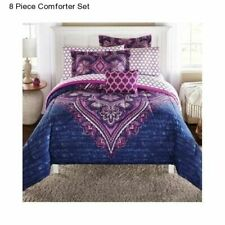 Mainstays Grace Medallion Bed in a Bag Complete Bedding Set - Purple