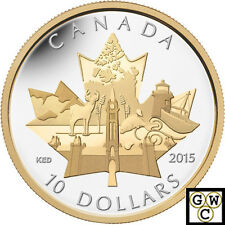 2015'Celebrating Canada' Gold-Plated $10 Silver Coin 1/2oz .9999Fine(14043)OOAK