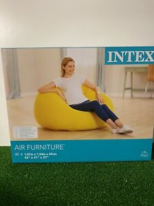 Intex Yellow Inflatable Beanless Bag Couch Chair Indoor Outdoor Camping Furnitur