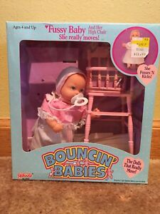 Vintage 1988 BOUNCIN' BABIES Fussy Baby by Galoob with box & high chair