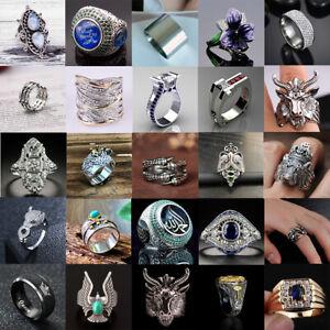 Women Men Vintage Rings Punk Skull Ring Gothic Cool Men's Rings Fashion Jewelry