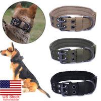 US Tactical Military Adjustable Dog Training Collar Nylon Leash MetalBuckle M-XL