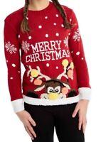 Kids Boys Girls 3D Rudolph Reindeer Christmas Xmas Knitted Jumper Red Pom PomTop