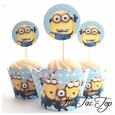 12x Minions Cupcake Topper + 12 Wrapper. Party Supplies Lolly Loot Bag Room Deco