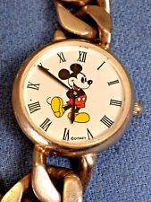 Vintage Mickey Mouse Watch Roman Numerals Disney Heavy Figaro Chain 7.5""