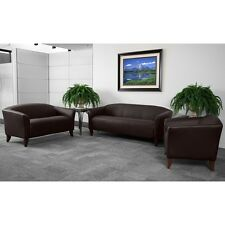 BROWN LEATHER SOFA, LOVE SEAT SIDE CHAIR OFFICE RECEPTION AREA GUEST SEATING SET