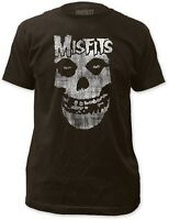 AUTHENTIC THE MISFITS DISTRESSED SKULL FITTED T SHIRT HORROR PUNK S M L XL 2XL