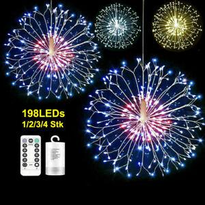 LED Feuerwerk Lichterkette 198LEDs Weihnachtsdeko Außen Innen Beleuchtung Garten