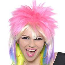 1980s 80's Punk Rock Chick Multi Colour Mullet Wig Womens Fancy Dress Costume