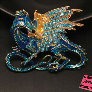 New Blue Enamel Cool Dragon Magical Crystal Betsey Johnson Charm Brooch Pin Gift