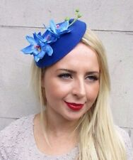 Royal Cobalt Blue Orchid Flower Pillbox Hat Fascinator Races Hair Clip Vtg 3242