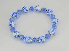 Light blue flower & white porcelain bead & glass crystal elasticated bracelet