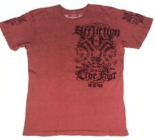 Affliction Mens 2XL Red Graphic T-Shirt Distressed Tee Rocker Punk Party Club