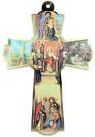 Holy Family Icon Saint Joseph Virgin Mary Infant Christ Wood Wall Cross, 6 Inch