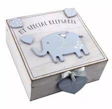 Baby Boy wooden Memories Keepsake Box Vintage Style Christening Gift Present