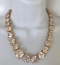 Spectacular 1990's KJL Silver Tone Faux Diamond Cut Zirconia Glass Link Necklace