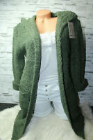 Italy Gr.36 38 40 42 Strick Boucle Long Cardigan Jacke khaki blogger NEU