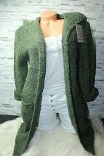 Italy Gr.36 38 40 42 Strick Boucle Long Cardigan Jacke khaki blogger NEU