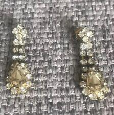 J Crew Yellow And Clear Rhinestones Retro Pierced Drop Dangle Gold Tone Earrings