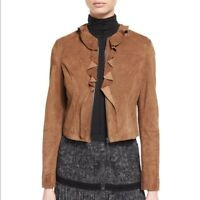 $ 998 NEW ! NWT ELIE TAHARI Tosca Suede Jacket Amaretto Size 0