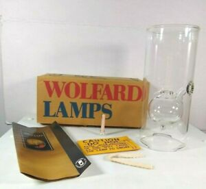 WOLFARD LAMPS Handblown Glass 9 inch oil lamp holds 4 oz fuel 25 hr burn time