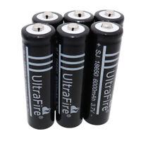 6X 18650 6000mAh 3.7V Li-ion Battery Rechargeable For Flashlight Torch Doorbell