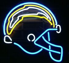 "Los Angeles Chargers Helmet Neon Lamp Sign 20""x16"" Bar Light Beer Glass Display"