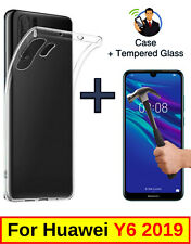 SLIM CLEAR COVER SOFT TPU GEL CASE + TEMPERED GLASS PROTECTOR FOR HUAWEI Y6 2019