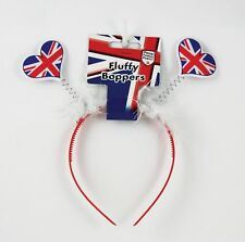 Great Britain Union Jack Fluffy Boppers with sparkly hearts fun party headwear