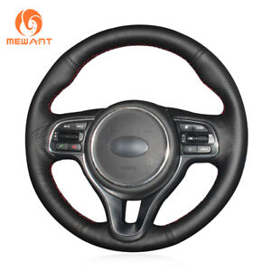 Black Genuine Leather Steering Wheel Cover for Kia K5 Optima Sportage KX5 Niro