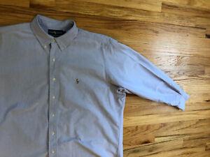 Men's Polo Ralph Lauren Yarmouth Size 17.5 34 L/S Dress Shirt Nice Blue