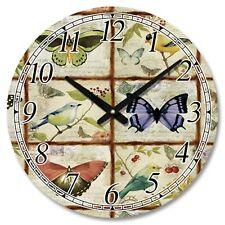 Large Wooden Round Butterflies and Birds Wall Clock NIFS01224