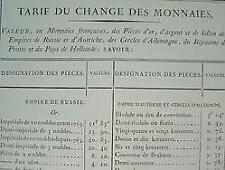 Valeur des monnaies d'or et d'argent en 1814.