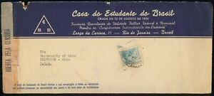 MayfairStamps Brazil 1944 AD to Columbus Ohio Censored Cover wwi71693