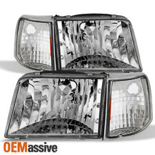 Fit 1993-1997 Ford Ranger Clear Headlights Replacement+Turn Signal Corner Lights