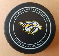 NHL 100th Anniversary Nashville Predators official game puck with holder