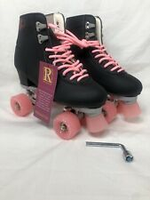 Reniaever Women Roller Double Two Line Skates Skating Black Shoes Pink Size 42