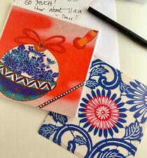 "N1Notecard set;""China Blues""; 4 of 2 designs;social stationery; Kimono designs"