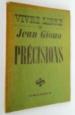 Vivre libre 2. Précisions, Jean Giono, Grasset, 1939 ex libris