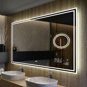 Badspiegel mit LED Beleuchtung SCHALTER | LED UHR | BT AUDIO | HEIZMATTE