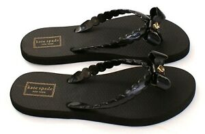 Kate Spade Black Denise Thong Sandals Flip Flops Women's NEW