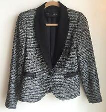 ZARA Black & Silver Fantasy Boucle Tweed BLAZER JACKET SZ S $169