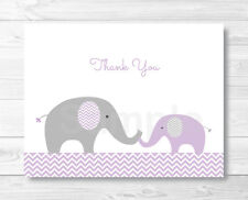 Purple Chevron Elephant Thank You Card Printable