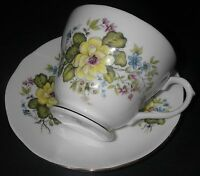 CUP & SAUCER Duchess Bone China Rhona 400 Floral Footed Scalloped Gold Trim.