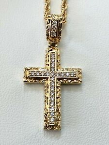 Men's 14k Gold Filled Nugget Cross Jesus Icy Pendant Charm Rope Chain Necklace