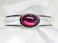 Dragons Breath, Mexican Opal Cuff Bracelet, Pink, Red, Silver Bracelet