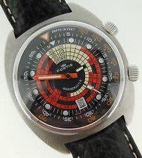 Fortis Vintage Marinemaster Dive Super Compressor Watch Steel Black/Orange Dial