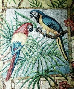"""Throw Blanket Tapestry Tropical Parrots Orchid Monkey Palm Woven Fringe 60""""x51"""""""